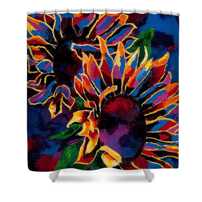 Sunflower Shower Curtain featuring the painting Abstract Sunflowers by Arthur Witulski
