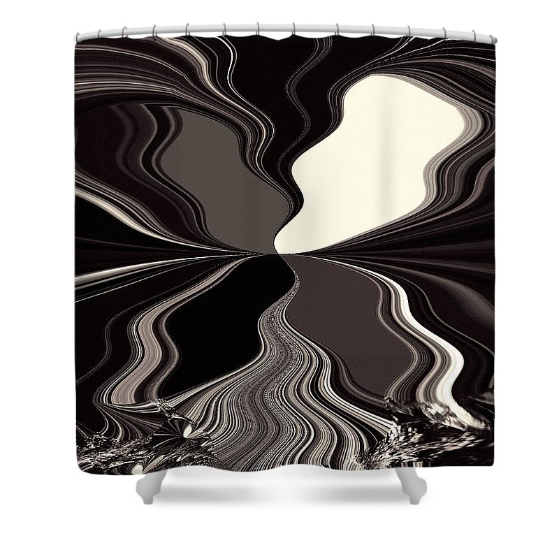 Abstract Shower Curtain featuring the digital art Abstract Wings In Black by Absinthe Art By Michelle LeAnn Scott