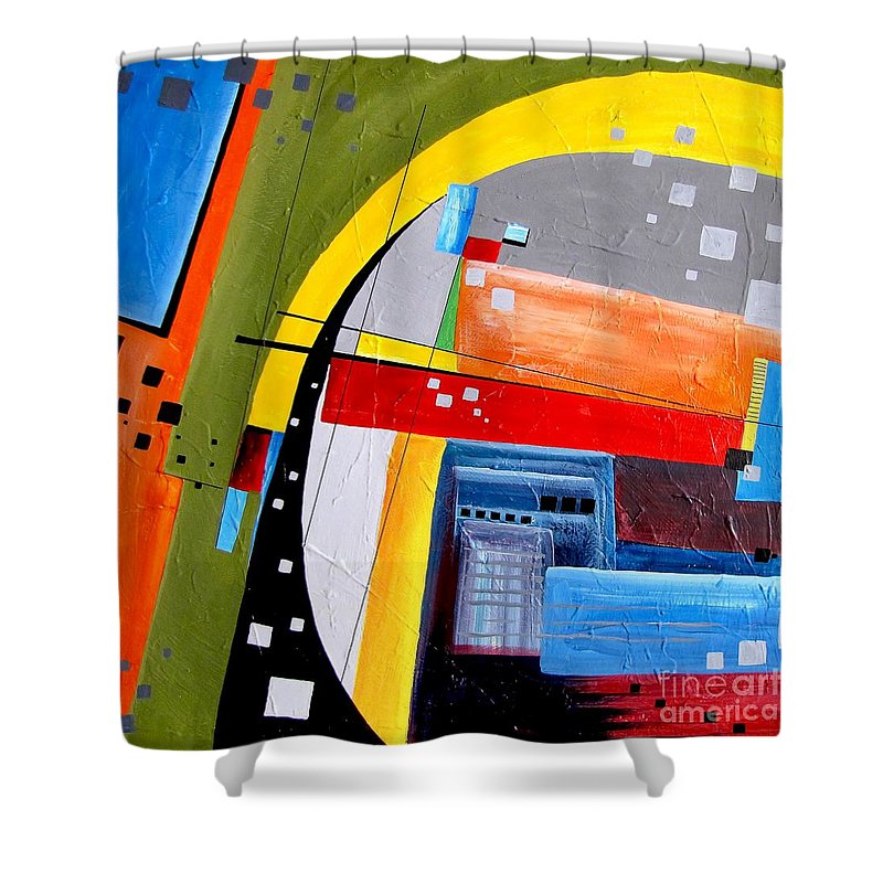 Graphics Shower Curtain featuring the painting Abstraction 0468 Marucii by Marek Lutek