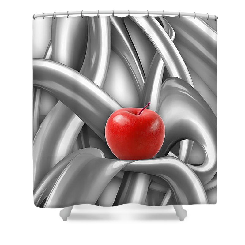 Abstract Shower Curtain featuring the digital art Abstraction 487-10-13 Marucii by Marek Lutek