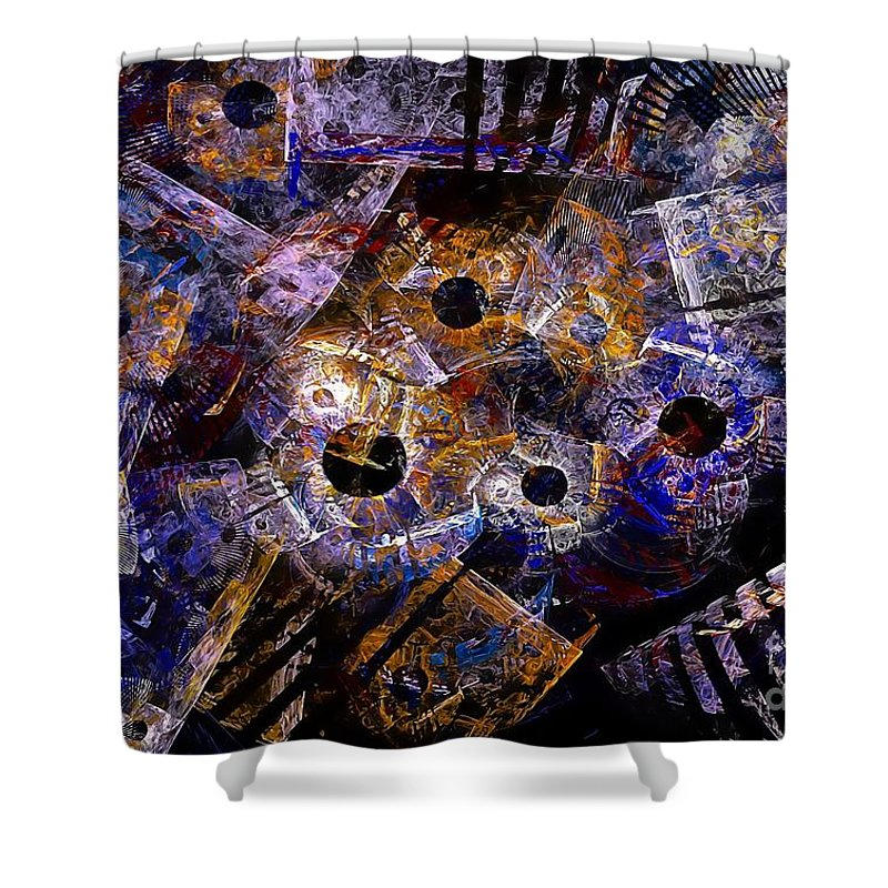 Abstract Shower Curtain featuring the digital art Abstraction 559-11-13 Marucii by Marek Lutek