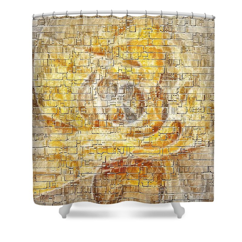 Abstract Shower Curtain featuring the digital art Abstraction 561-11-13 Marucii by Marek Lutek