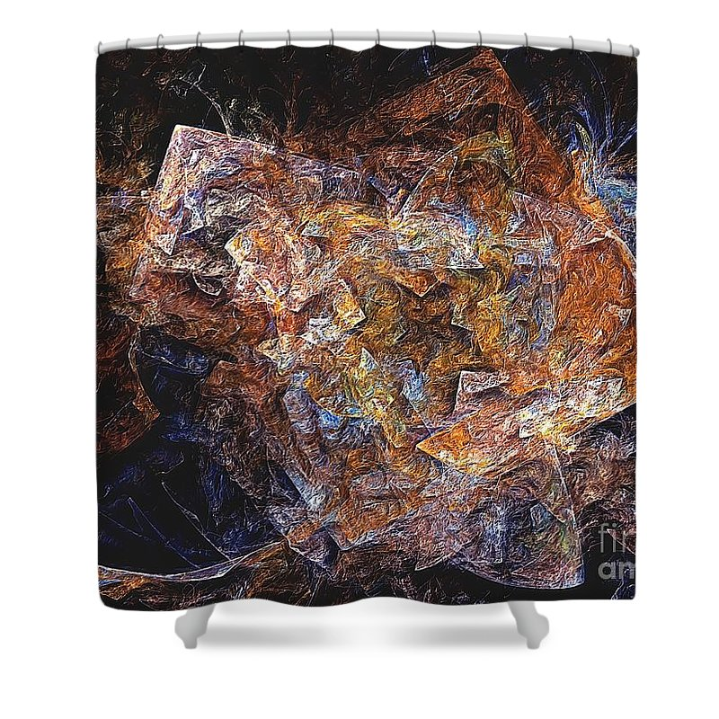 Abstract Shower Curtain featuring the digital art Abstraction 562-11-13 Marucii by Marek Lutek