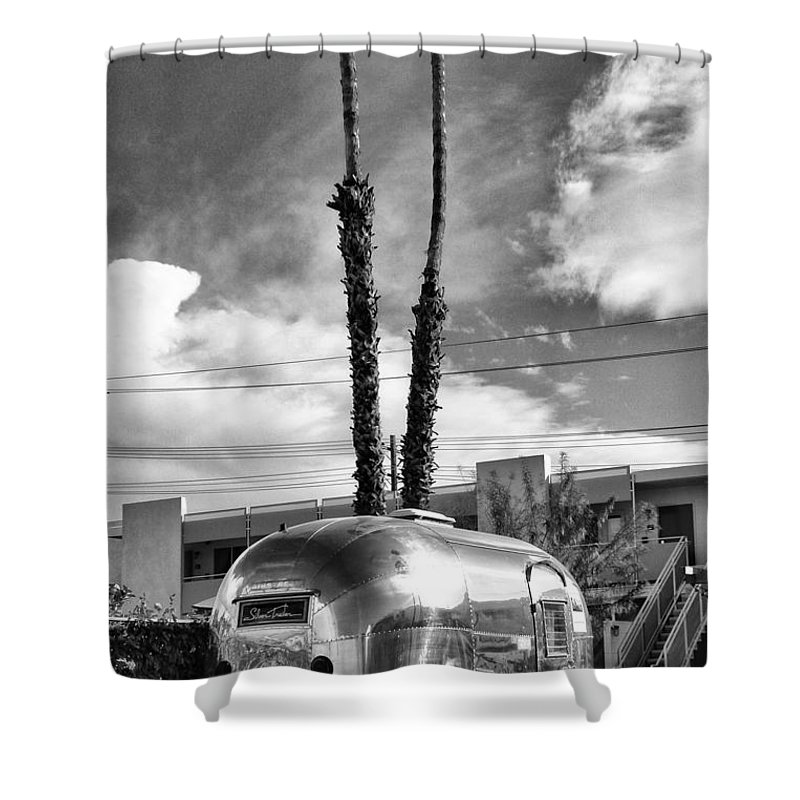 Airstream Shower Curtain featuring the photograph Ace Trailer Palm Springs by William Dey