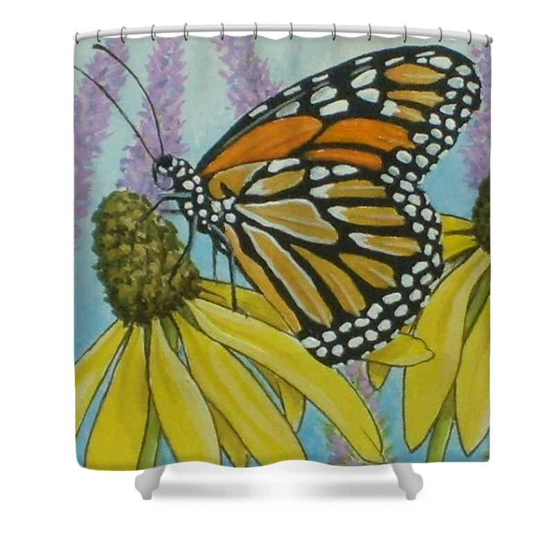 Aceo Shower Curtain featuring the painting ACEO Monarch on wild grey headed Coneflower by Debrah Nelson