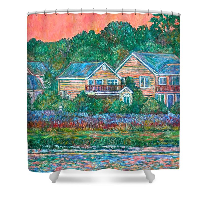 Landscape Shower Curtain featuring the painting Across The Marsh At Pawleys Island    by Kendall Kessler