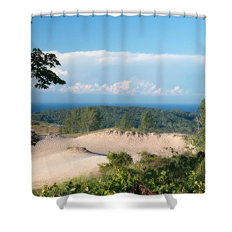 Sleeping Bear Shower Curtain featuring the photograph Across The Sand by Linda Kerkau