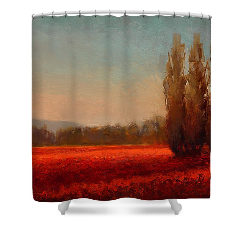 Skagit Shower Curtain featuring the painting Across The Tulip Field - Horizontal Landscape by Karen Whitworth