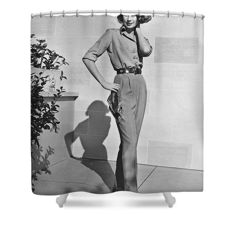 1956 Shower Curtain featuring the photograph Actress Grace Kelly by Underwood Archives