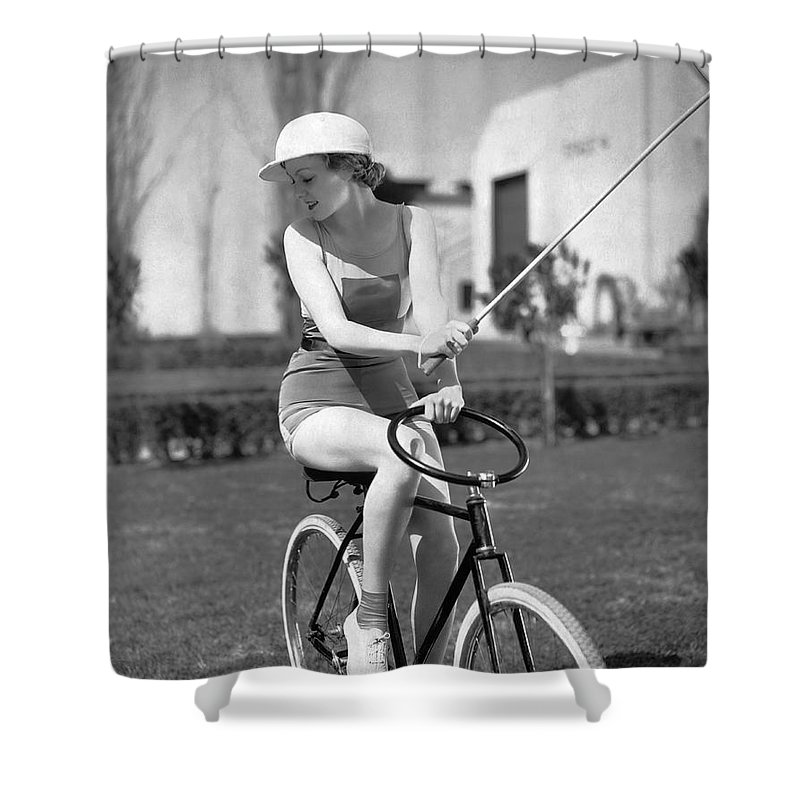 1 Person Shower Curtain featuring the photograph Actress Plays Bike Polo by Underwood Archives