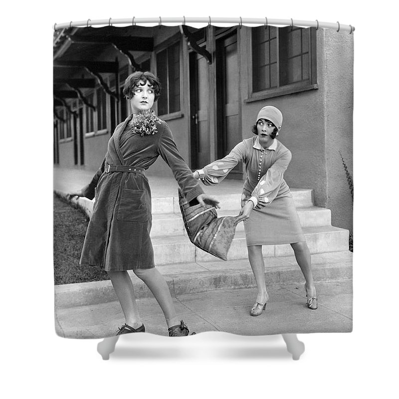 1920s Shower Curtain featuring the photograph Actresses On Roller Skates by Underwood Archives