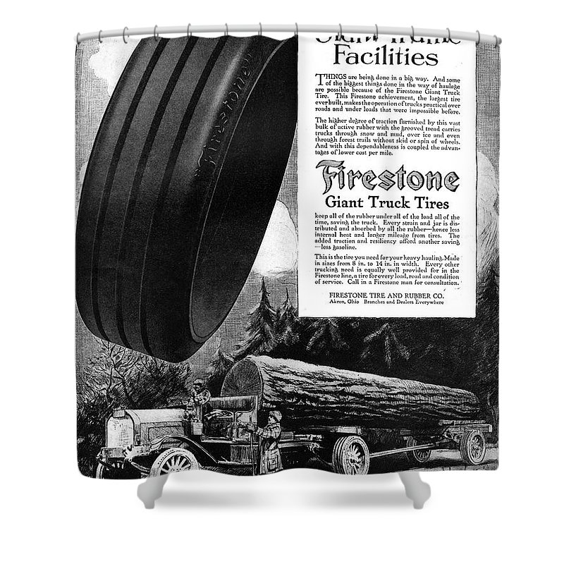 1918 Shower Curtain featuring the painting Ad Firestone, 1918 by Granger