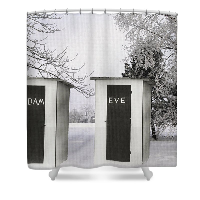 Adam And Eve Shower Curtain featuring the photograph Adam And Eve Not For Me by Randall Branham