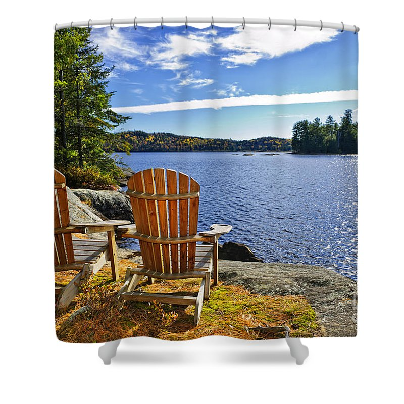 Chairs Shower Curtain Featuring The Photograph Adirondack At Lake Shore By Elena Elisseeva