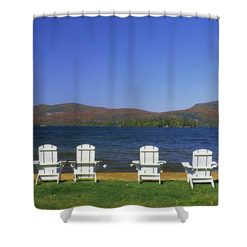 Photography Shower Curtain Featuring The Photograph Adirondack Chairs At Lakeside Blue By Panoramic Images
