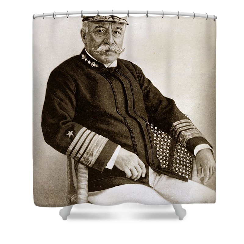 Spanish American War Shower Curtain featuring the photograph Admiral Of The Navy George Dewey Seen In 1899 On The Uss Olympia by California Views Archives Mr Pat Hathaway Archives