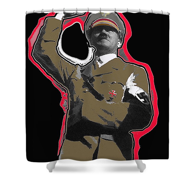 Adolf Hitler Saluting 2 Circa 1933 Collage Color Added Shower Curtain featuring the photograph Adolf Hitler Saluting 2 Circa 1933-2009 by David Lee Guss