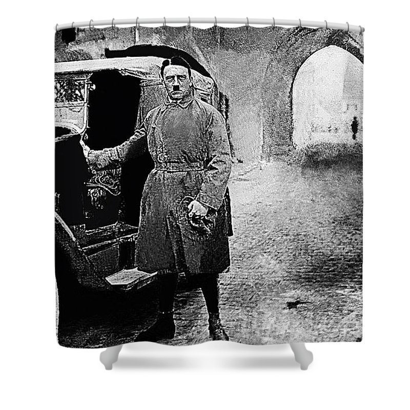 Adolf Hitler Shortly After Release From Prison 1924 Glass Plate Negative Black And White Trench Coat Mercedes-benz Auto Shower Curtain featuring the photograph Adolf Hitler Shortly After His Release From Prison 1924 1924-2012 by David Lee Guss