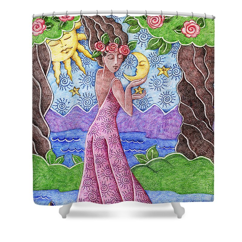 Figurative Shower Curtain featuring the drawing Adorable Moon by Elaine Jackson
