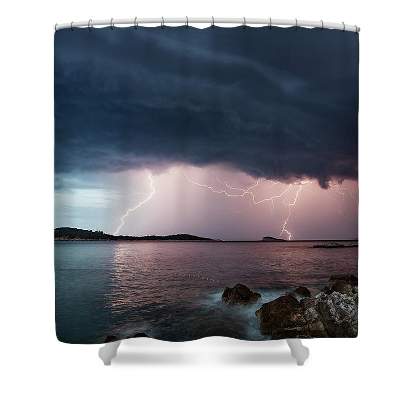 Adriatic Sea Shower Curtain featuring the photograph Adriatic Lightning by Image By Chris Winsor