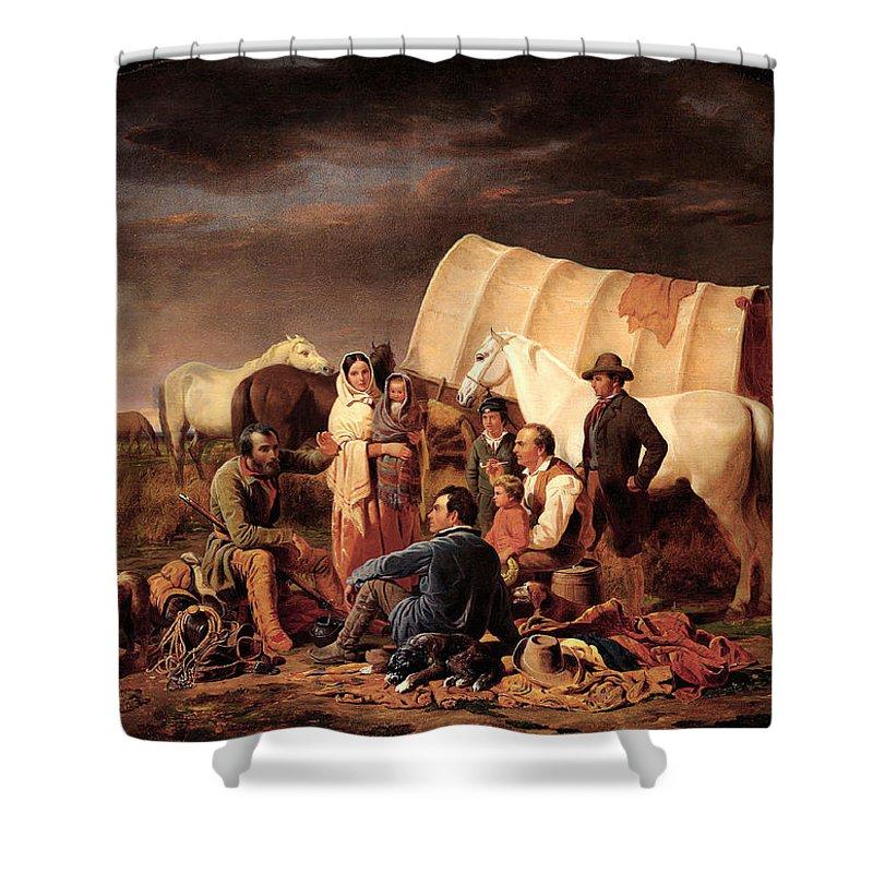 Advice On The Prairie Shower Curtain featuring the digital art Advice On The Prairie by Wiliam Tylee Ranney