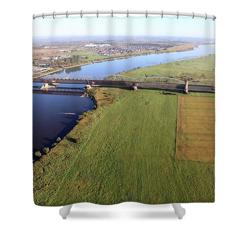 Railroad Track Shower Curtain featuring the photograph Aerial Photo Of The Railway Bridge by Dariuszpa