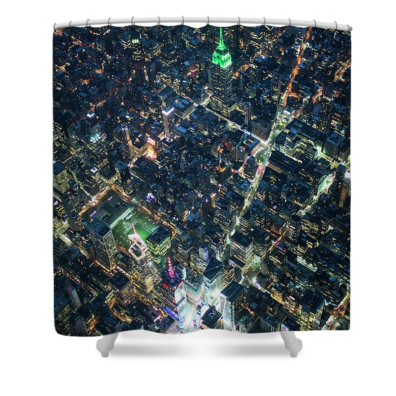 Outdoors Shower Curtain featuring the photograph Aerial Photography Of Bloadway In Dusk by Michael H