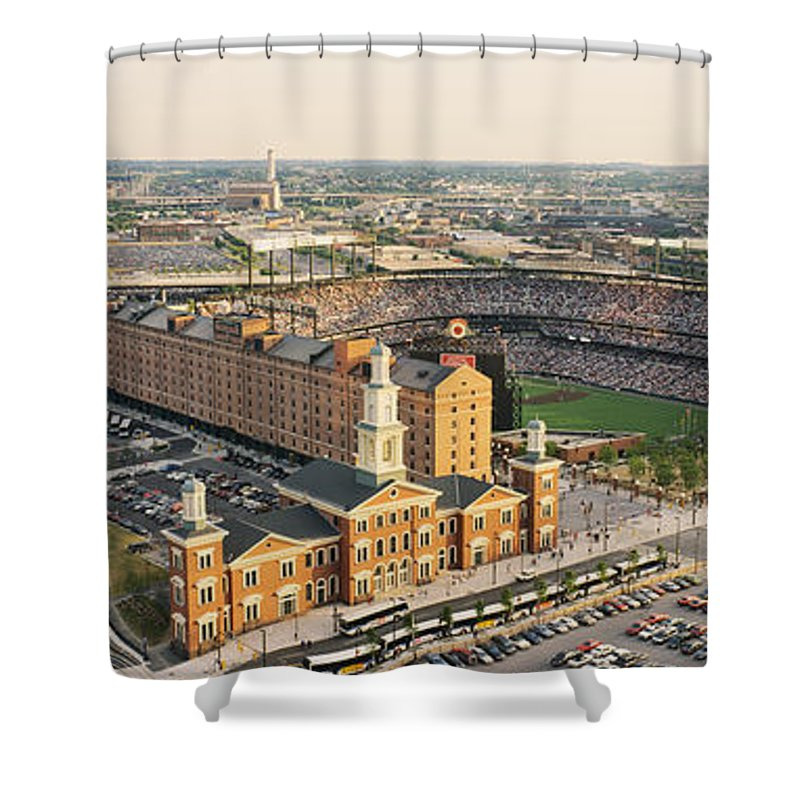 Photography Shower Curtain featuring the photograph Aerial View Of A Baseball Stadium by Panoramic Images