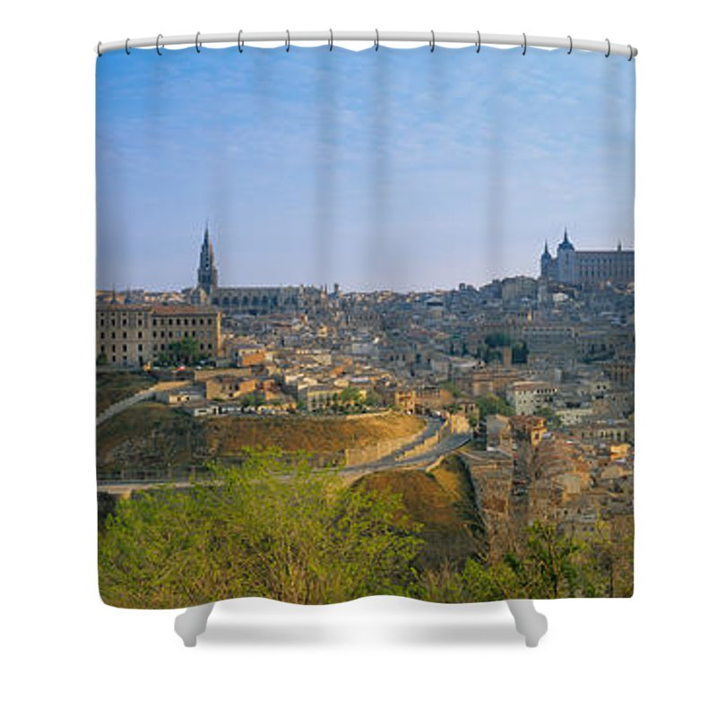Photography Shower Curtain featuring the photograph Aerial View Of A City, Toledo, Spain by Panoramic Images