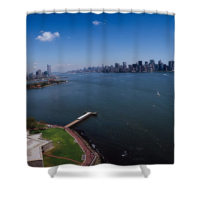 Photography Shower Curtain featuring the photograph Aerial View Of A Statue, Statue by Panoramic Images