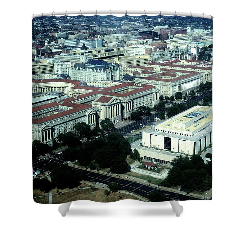 Downtown District Shower Curtain featuring the photograph Aerial View Of Constitution Avenue by Hisham Ibrahim