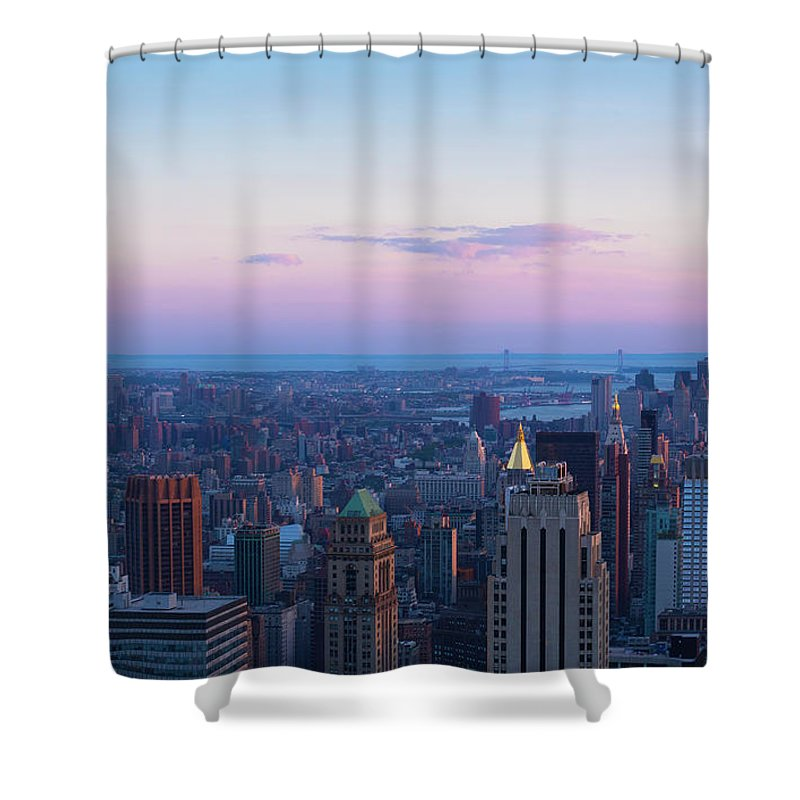Tranquility Shower Curtain featuring the photograph Aerial View Of Empire State And Midtown by Future Light