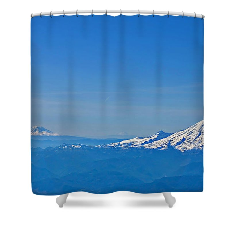 Landscape Shower Curtain featuring the photograph Aerial View Of Mount Rainier Volcano Art Prints by Valerie Garner