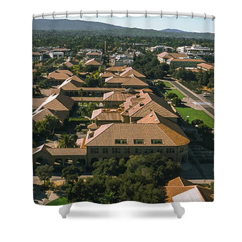 Photography Shower Curtain featuring the photograph Aerial View Of Stanford University by Panoramic Images
