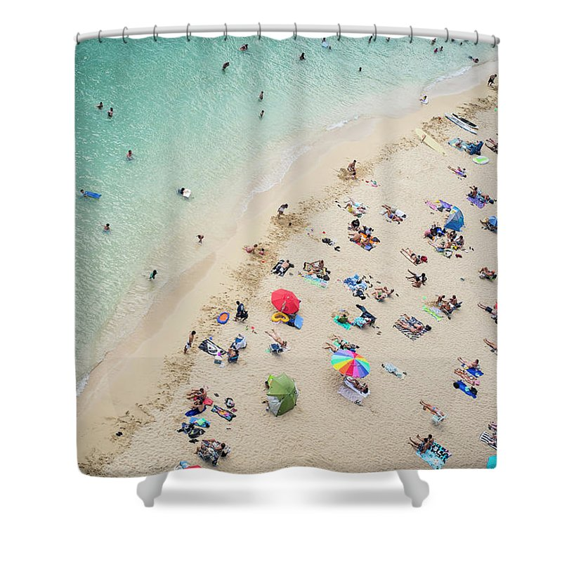 Honolulu Shower Curtain featuring the photograph Aerial View Of Tourists On Beach by Alberto Guglielmi