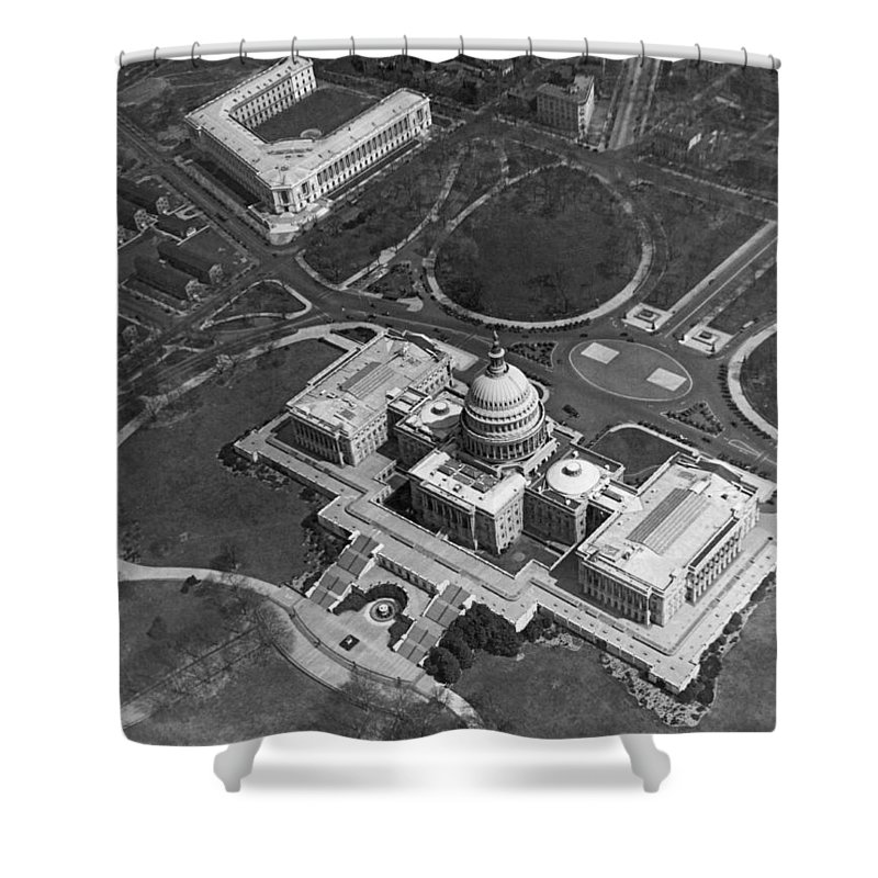 1920s Shower Curtain featuring the photograph Aerial View Of U.s. Capitol by Underwood Archives