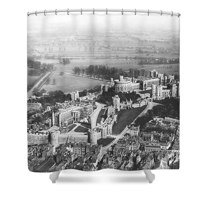 1920s Shower Curtain featuring the photograph Aerial View Of Windsor Castle. by Underwood Archives
