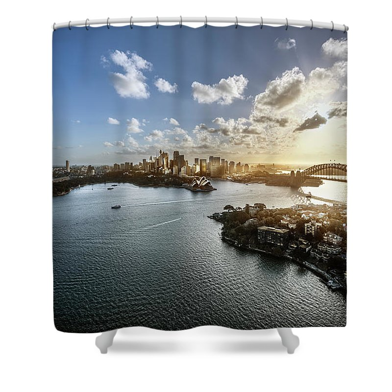Sydney Harbor Bridge Shower Curtain featuring the photograph Aeriall View Of Sydney Harbour At Sunset by Howard Kingsnorth