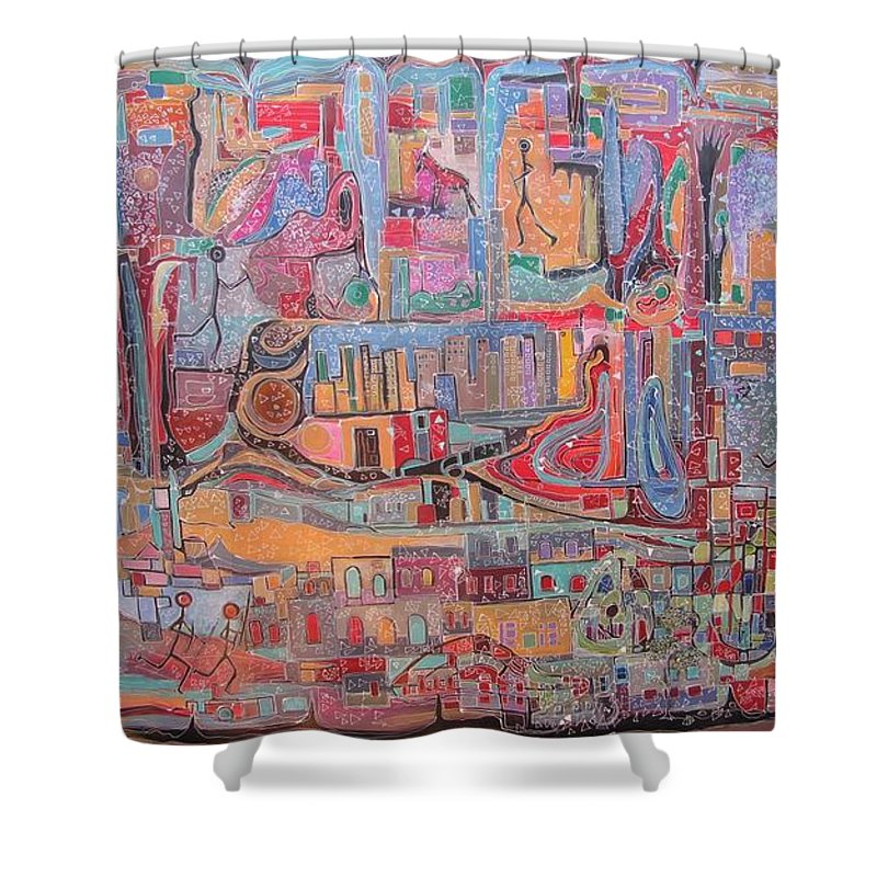African Art Shower Curtain featuring the painting Africa-oppression by Dragoslav Ristic