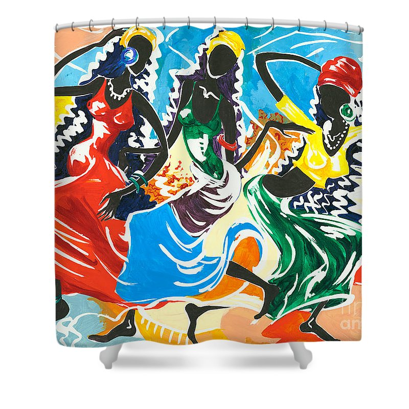 Canvas Prints Shower Curtain featuring the painting African Dancers No. 2 by Elisabeta Hermann
