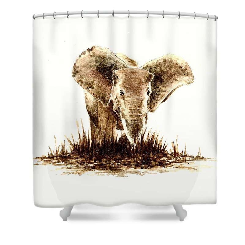 Animals Shower Curtain featuring the painting African Elephant Number 2 by Michael Vigliotti