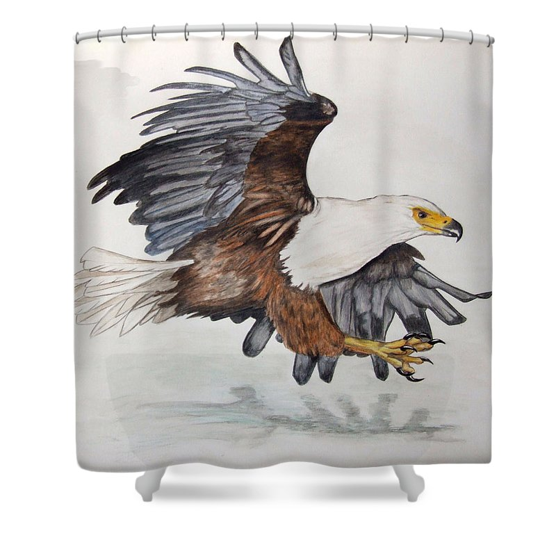 African Fish Eagle Shower Curtain Featuring The Painting By Tracey Beer