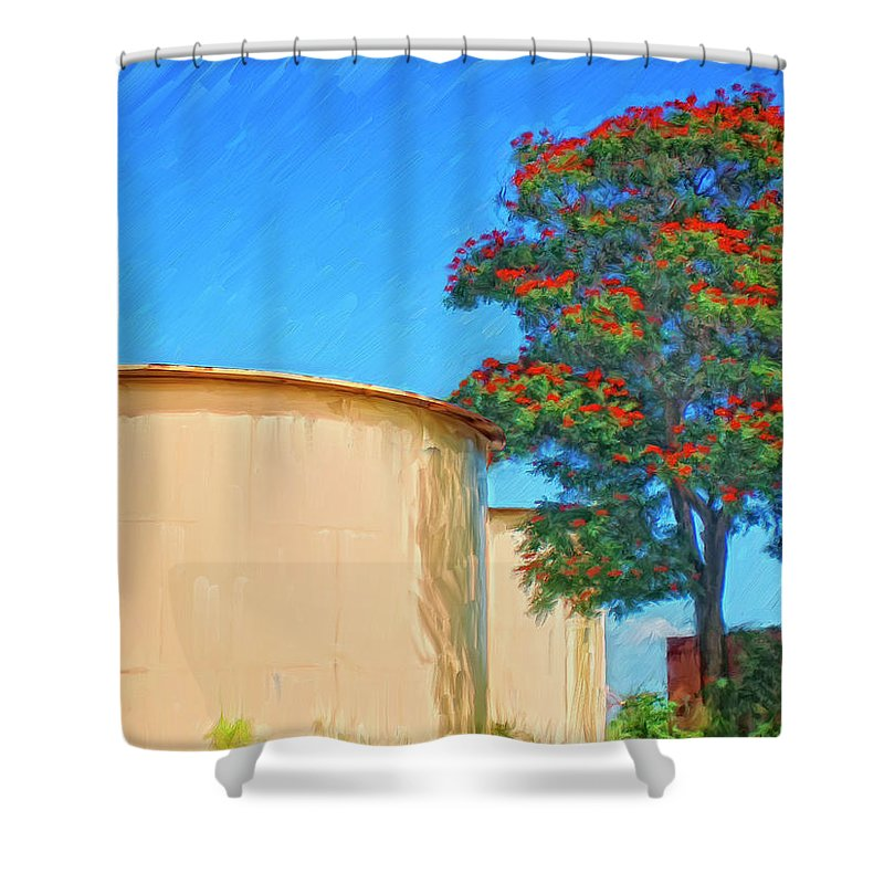 African Tulip Tree Shower Curtain featuring the painting African Tulip And Fuel Tanks by Dominic Piperata