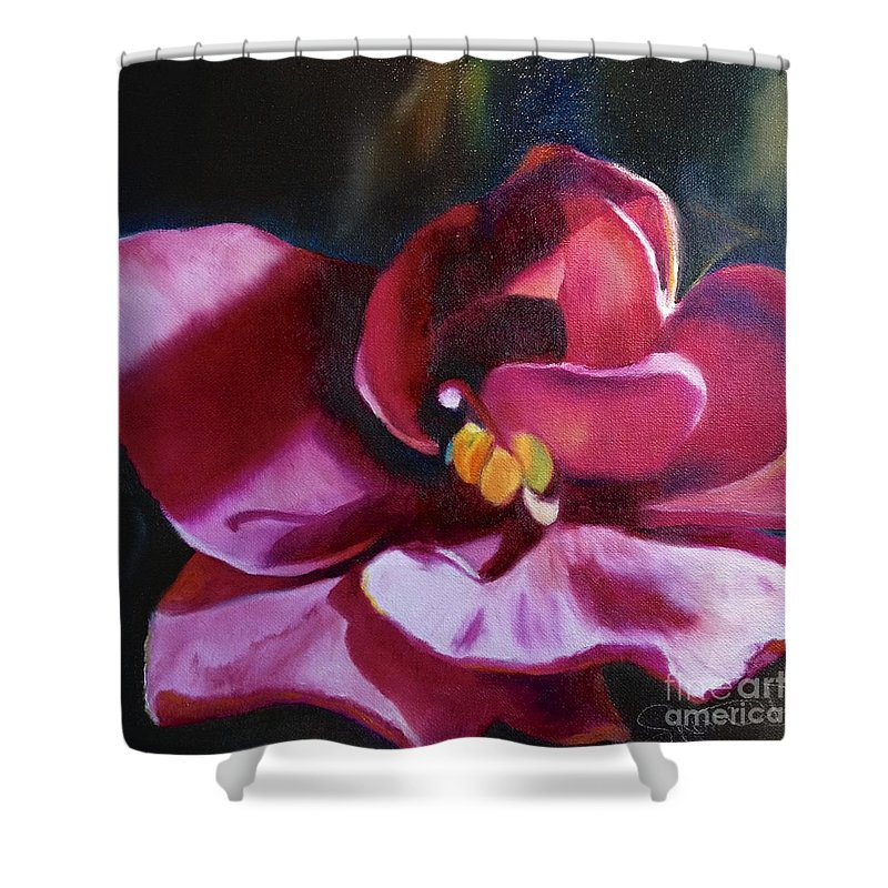 Magenta Flower Shower Curtain featuring the painting African Violet In The Light by Sherri Dauphinais