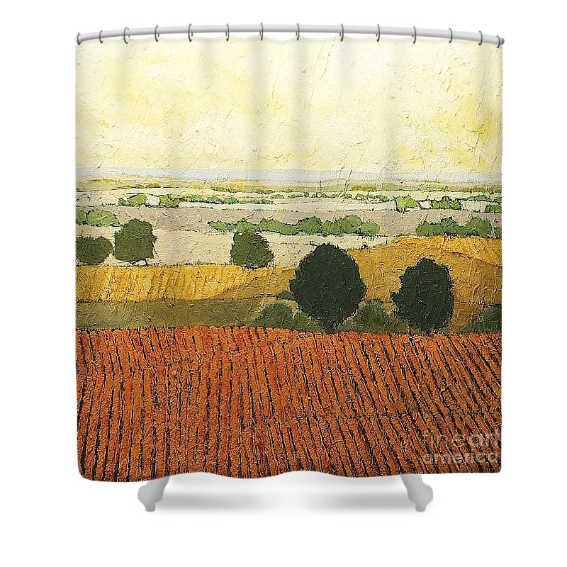 Landscape Shower Curtain featuring the painting After Harvest by Allan P Friedlander