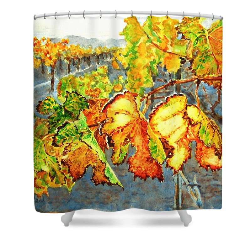 Vineyard Shower Curtain featuring the painting After The Harvest by Karen Ilari