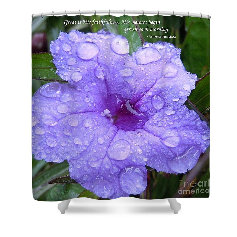 Flower Shower Curtain featuring the photograph After The Rain #3 by Robert ONeil