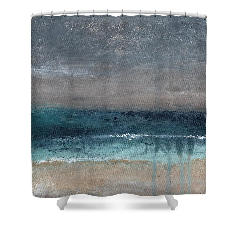 Abstract Landscape Shower Curtain Featuring The Painting After Storm Beach By Linda