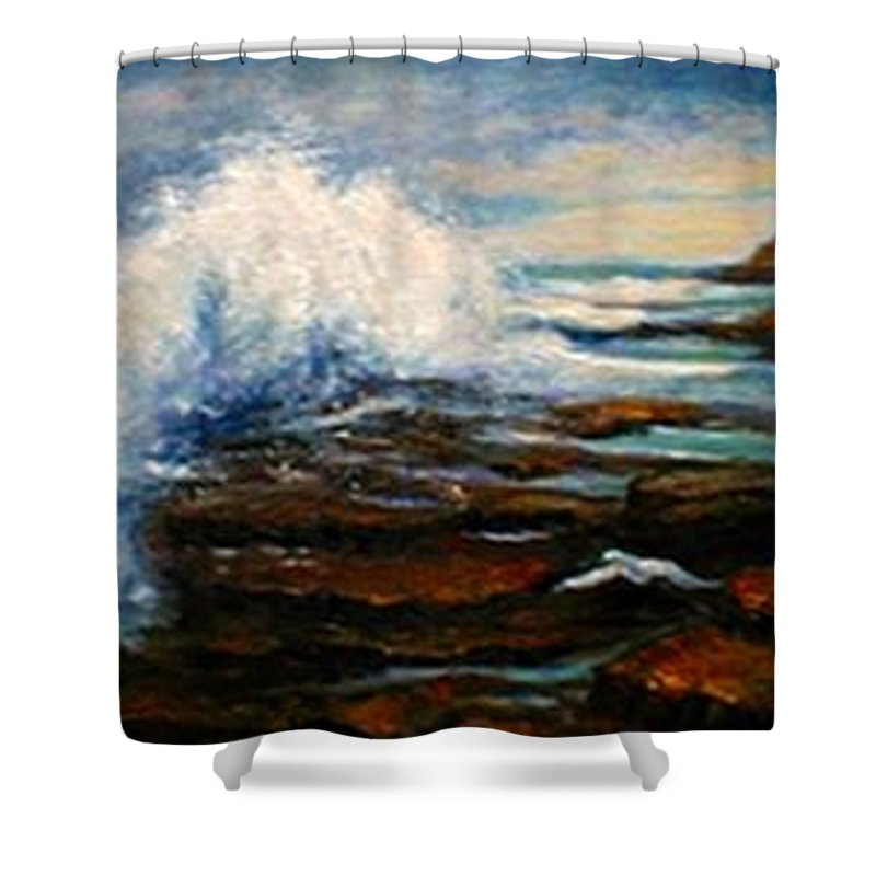 Seascape Shower Curtain featuring the painting After THe Storm by Gail Kirtz