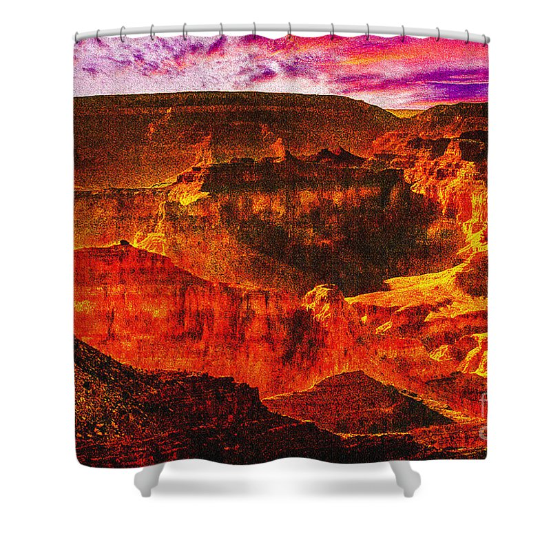 Afterglow Shower Curtain featuring the photograph Afterglow Grand Canyon National Park by Bob and Nadine Johnston